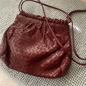 Vintage Saks Fifth Ave Leather Woven Bag